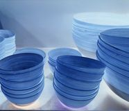 Empty blue bowls stacked Stock Image