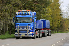 Blue Scania Combination Vehicle Transports Limestone Stock Photography