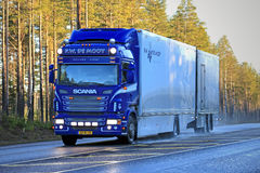 Blue Scania Flower Transport Truck on the Road Royalty Free Stock Photos