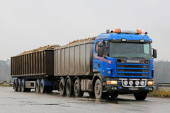 Blue Scania 164G Trailer Truck Hauls Sugar Beet. SALO, FINLAND - NOVEMBER 9, 2014:  Scania 164G trailer truck hauls sugar beet. Around 250 truckloads of beets Stock Images