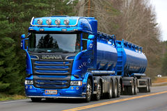 Blue Scania R580 Double Tanker on the Road Stock Photos