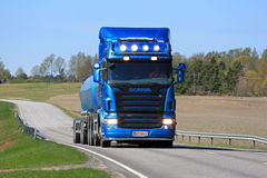 Blue Scania R500 Tank Truck Transport at Spring Royalty Free Stock Photo