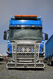 Blue Scania R500 Truck with a Large Grille Guard Stock Images