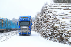Blue Scania R580 V8 Logging Truck at Railway Timber Yard Royalty Free Stock Photo