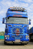 Blue Scania R620 V8 Truck Tractor Royalty Free Stock Images
