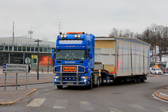 Blue Scania Semi Wide Load Transport Stock Images