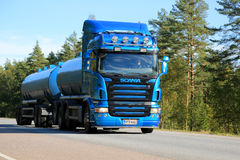 Blue Scania Tank Truck on the Road Royalty Free Stock Photography
