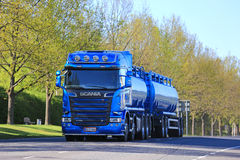 Blue Scania Tank Truck in Town Royalty Free Stock Images