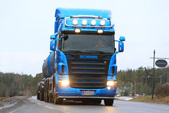 Blue Scania Tank Truck Up Front Royalty Free Stock Photo