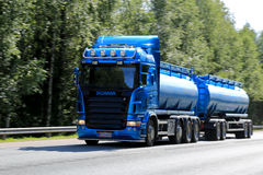 Blue Scania Tanker Truck in High Speed Stock Photo