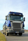 Blue Scania Tipper Truck on a parking lot Stock Images