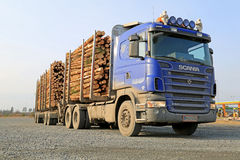 Blue Scania V8 Timber Truck Royalty Free Stock Photo