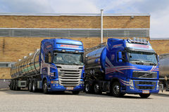 Blue Scania and Volvo Tanker Trucks Royalty Free Stock Image