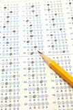 Blue Scantron Bubble Test with number two pencil Royalty Free Stock Photo