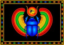 Free Blue Scarab With Colorful Wings And The Eye Of Horus Royalty Free Stock Images - 181863989