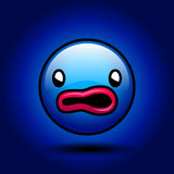 Blue scared smile Stock Images