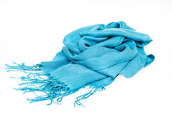 Blue scarf. Isolated on a white background Royalty Free Stock Photo