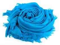 Blue scarf. Beautifull blue scarf isolated on white background Stock Images