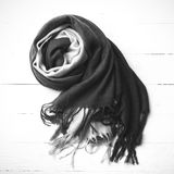 Blue scarf black and white color Royalty Free Stock Photography