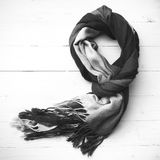 Blue scarf black and white color Royalty Free Stock Photos