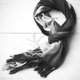 Blue scarf black and white color Royalty Free Stock Images