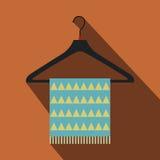 Blue scarf on coat-hanger flat icon Stock Image