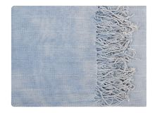 It is a  blue scarf with fringe. It is a light blue scarf with fringe Royalty Free Stock Image