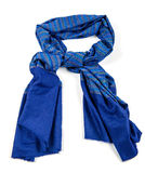 Blue scarf of pashmina isolated Stock Images