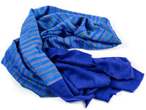 Blue scarf of pashmina isolated Royalty Free Stock Images