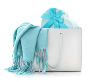 Blue scarf in shopping bag with gift box Stock Photography