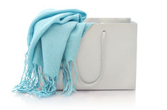 Blue scarf in shopping bag Stock Photography