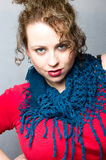 Blue scarf straight on Royalty Free Stock Photography