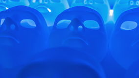 Blue scary faces. Blue masks dolly-shot motion background stock video