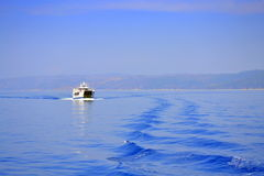 Blue scenery ship Greece Royalty Free Stock Image