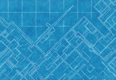 Blue scheme of top view city plan on graph paper Stock Photo