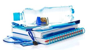 Free Blue School Accessories With Bottle Of Water Royalty Free Stock Photos - 35202008