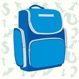 Blue school backpack on the background of the arrow. Blue school backpack with zippered pockets. Bag for school. Gentle background with different arrows Vector Royalty Free Stock Photography