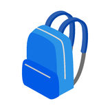 Blue school bag icon, isometric 3d style. Blue school bag icon in isometric 3d style on a white background Royalty Free Stock Photo