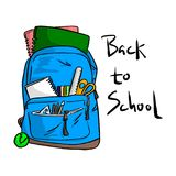 Blue school bag with items for students vector illustration sket. Ch doodle hand drawn with black lines isolated on white background. Back to school concept Royalty Free Stock Image