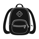 Blue school bag. A school bag for a book and notebooks.School And Education single icon in black style vector symbol Stock Photo