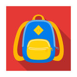 Blue school bag. A school bag for a book and notebooks.School And Education single icon in flat style vector symbol Stock Image