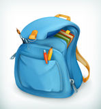 Blue school bag. Vector icon,  on white background Royalty Free Stock Photos