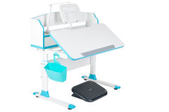 Blue school desk, blue basket, desk lamp and black support under legs Royalty Free Stock Photos