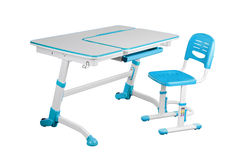 Blue school desk and blue chair Royalty Free Stock Photography