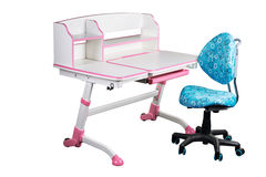 Blue school desk and blue chair Royalty Free Stock Photo
