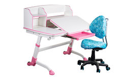 Blue school desk and blue chair Royalty Free Stock Photos