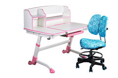 Blue school desk and blue chair Stock Image