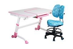 Blue school desk and blue chair Stock Photos