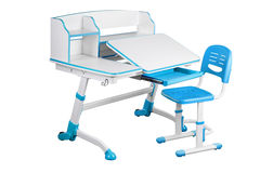 Blue school desk and blue chair Stock Photography