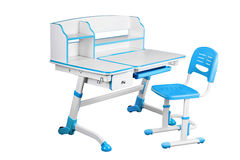Blue school desk and blue chair Royalty Free Stock Image
